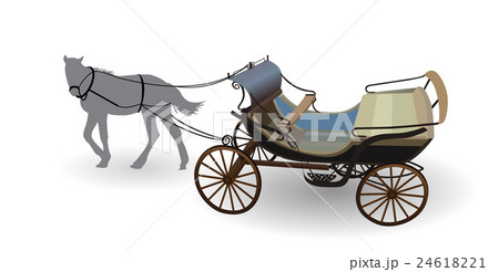 Old Wagon for the Horses. Isolated on Whiteのイラスト素材 [24618221] - PIXTA