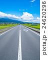 【長野県】田園風景を抜ける一本道 24620296