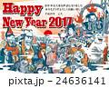 2017年賀状テンプレート「ちょっとヘンな七福神」 ハッピーニューイヤー 添え書き入り ハガキ横向き 24636141