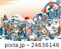 2017年賀状「ちょっと変わった七福神」 賀詞・添え書きスペース空き ハガキ横向き 24636146