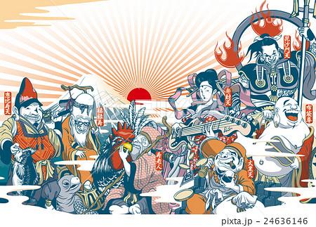 2017年賀状「ちょっと変わった七福神」 賀詞・添え書きスペース空き ハガキ横向き