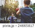 Basketball Athlete Bounce Coaching Exercise Play Concept 24665817