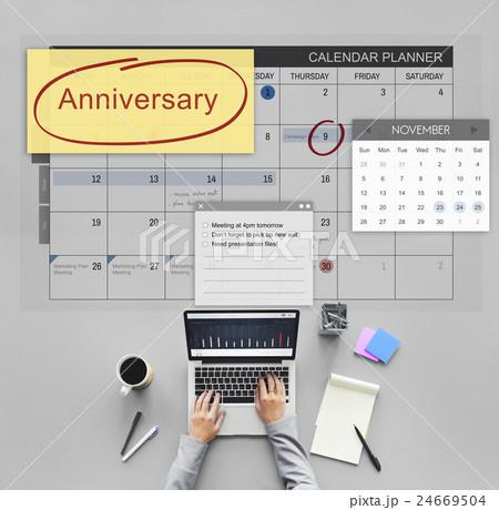 Anniversary Event Appointment Planner Calendar Conceptの写真素材 [24669504] - PIXTA