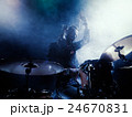 Silhouette of the drummer on stage. 24670831