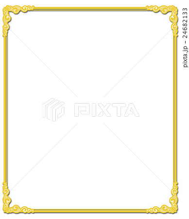 フレーム枠 飾り罫 ゴールドのイ...