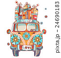 Hand drawn doodle outline retro bus 24690183