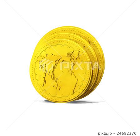 金貨と世界地図 24692370