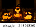 Photo of three pumpkins for Halloween. 24696595