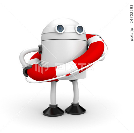 Robot with life buoy. 3d illustration 24702293