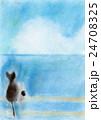 海を見ているネコの親子 24708325