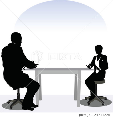 business man and woman silhouette in meeting poseのイラスト素材 [24711226] - PIXTA