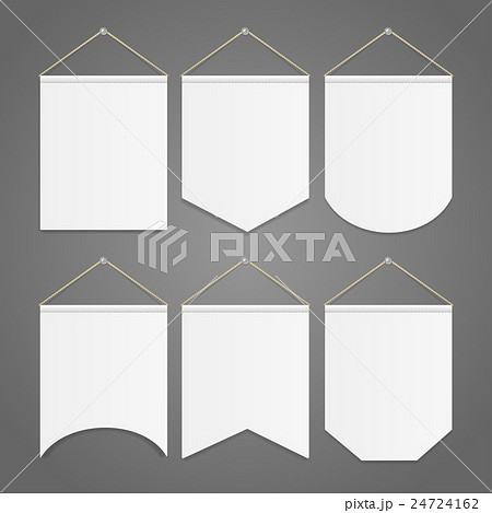 white pennant template hanging on wall set vectorのイラスト素材