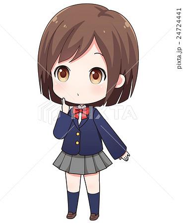 制服姿の考える女の子のイラスト素材 24724441 Pixta