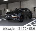 急速充電器が備えた立体駐車場に充電している黒色SUV車 24724639