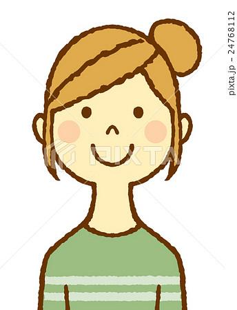 若い女性 お団子ヘアのイラスト素材 24768112 Pixta