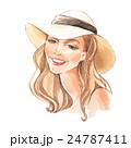 Girl in a hat. Fashion sketch. Hand drawn  24787411