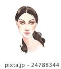 Fashion sketch. Watercolor female face 24788344