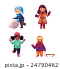 Set of kids enjoying winter season, vector 24790462