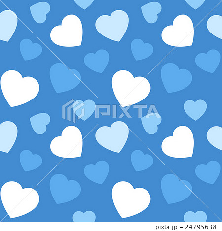 青系大きめランダムハート柄 繰り返しシームレスパターン ベクター素材 ホワイトデー 24795638