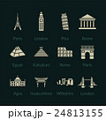 World landmarks outline icons set 24813155