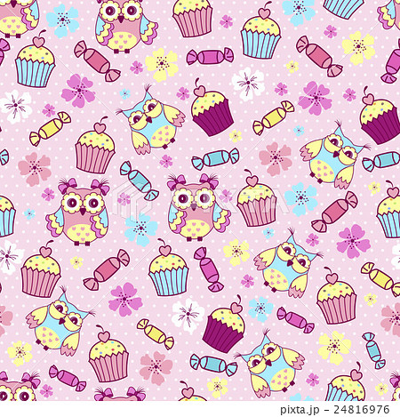 Seamless pattern with cute owlsのイラスト素材 [24816976] - PIXTA