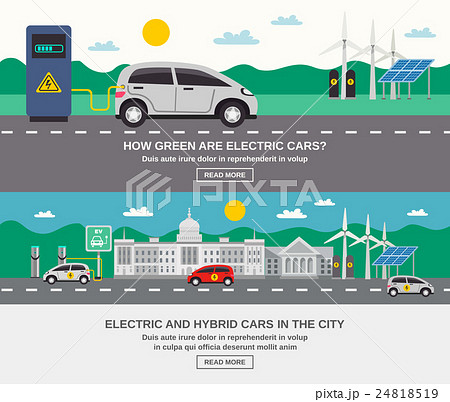 Electric Car City 2 Flat Banners  24818519