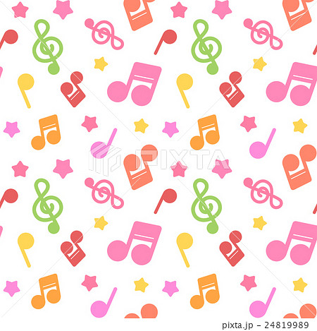 ポップでかわいい音符イラスト柄 繰り返しシームレスパターン 白背景暖色