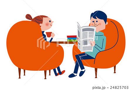 椅子に座ってくつろぐ男女 夫婦 24825703