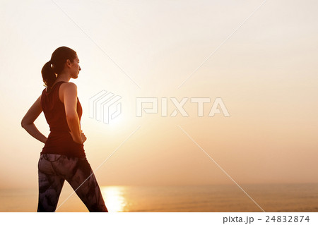 Woman Tranquil Fitness Healthy Peace Sea Concept 24832874