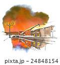 運河 冬 夕焼けのイラスト 24848154