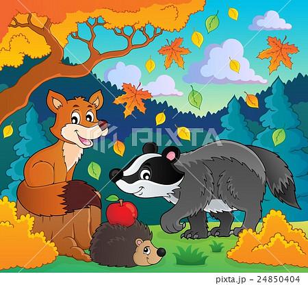Forest wildlife theme image 1のイラスト素材 [24850404] - PIXTA