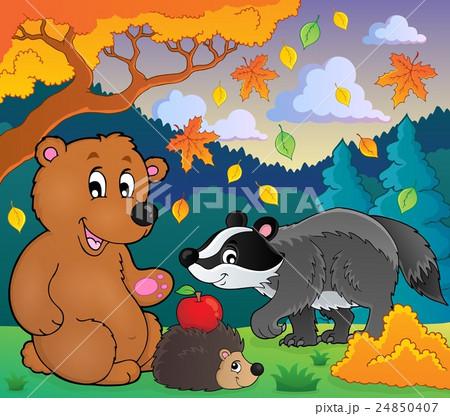 Forest wildlife theme image 4のイラスト素材 [24850407] - PIXTA
