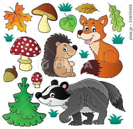 Forest wildlife theme set 1のイラスト素材 [24850408] - PIXTA