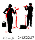 Silhouettes musicians plays the guitar and flute 24852287
