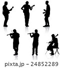 Silhouettes street musicians playing instruments 24852289