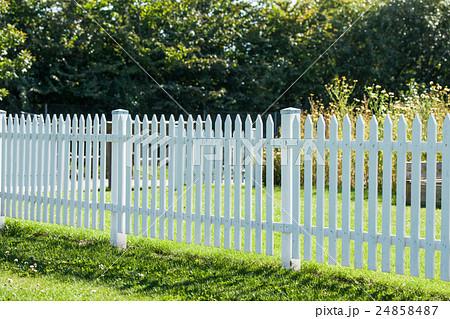 White picket fence in a garden 24858487 pixta - Barrire de jardin d occasion ...