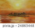 宍道湖の夕陽 スケッチ画 24863448