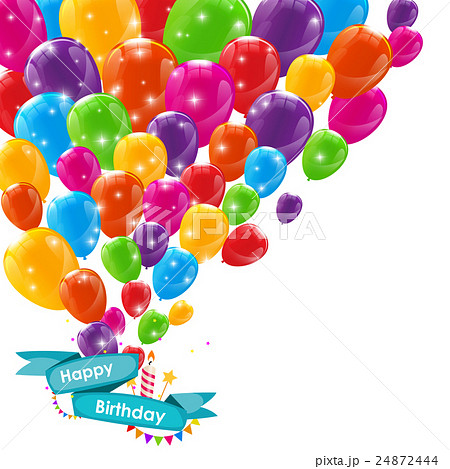 happy birthday card template with balloons ribbonのイラスト素材