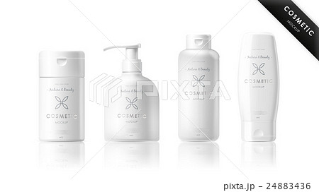 realistic bottle set cosmetic brand templateのイラスト素材