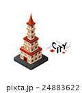 Isometric chinatown icon, building city 24883622