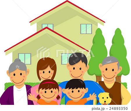 家族ファミリーイラスト6人上半身家付きのイラスト素材 24893350