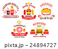Fast food sandwich, drink and dessert badges 24894727