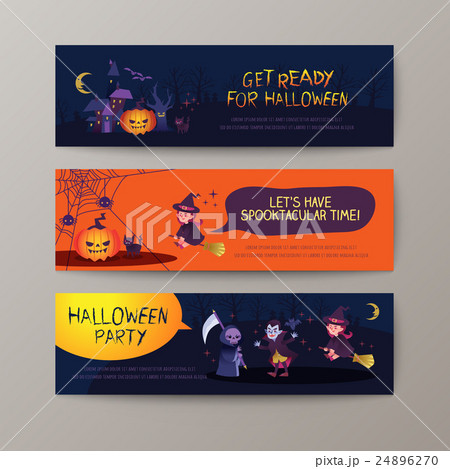 set of happy halloween banners background templateのイラスト素材