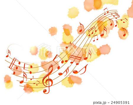 譜面 秋 音楽 紅葉 五線譜のイラスト素材 24905391 Pixta