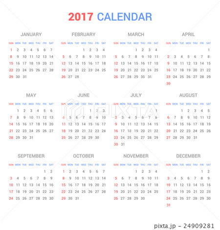 calendar template for 2017 on white backgroundのイラスト素材