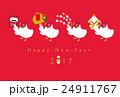 年賀状 にわとりの正月準備 24911767