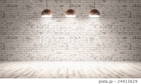 Three lamps over brick wall 3d rendering 24913629