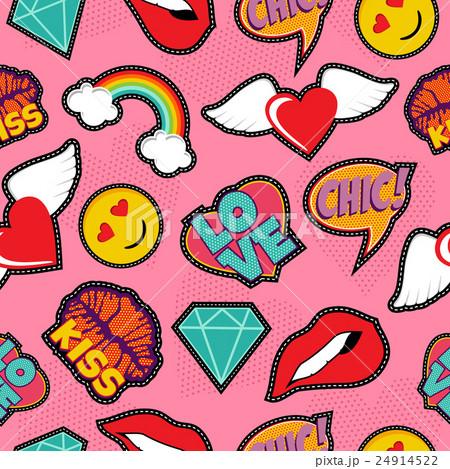 Pink pop art stitch patch seamless patternのイラスト素材 [24914522] - PIXTA