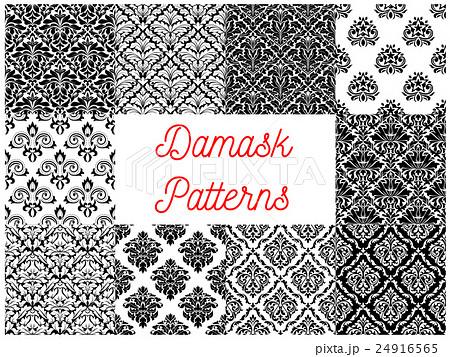 Black and white damask floral patterns setのイラスト素材 [24916565] - PIXTA
