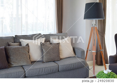 modern living room with sofa and wooden lampの写真素材 [24920830] - PIXTA
